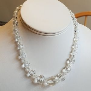 Vintage 1950s Crystal Clear Faceted Choker Neckace